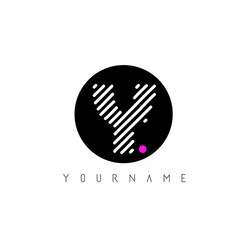 y letter logo design with white lines and black vector image