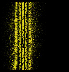 Yellow ink tire track vector