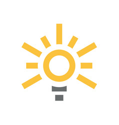 yellow light bulb with sun icon flat for eco vector image