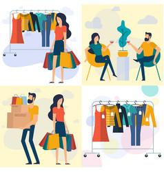 young man and woman at shopping vector image