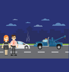 car repairs banner with people near broken car vector image