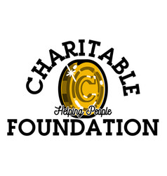 Color vintage charitable foundation emblem vector