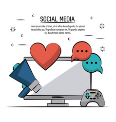 colorful poster of social media with desktop vector image