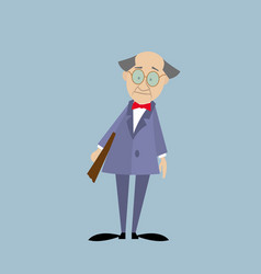professor in a suit with a folder vector image vector image