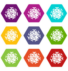 round viral bacteria icon set color hexahedron vector image