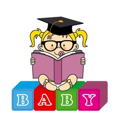 baby girl with book vector image vector image
