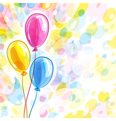 Background with three balloons vector