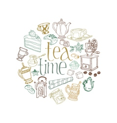 Card with Tea and Coffee Doodles vector image vector image