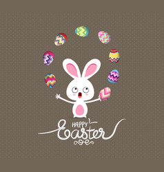 easter bunny playful cute eggs fun humor vector image