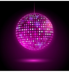 Glowing disco ball with stars vector image vector image