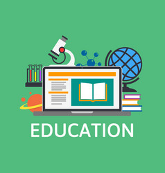 online education and training e-learning concept vector image