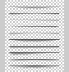 page divider with transparent shadows set of vector image vector image