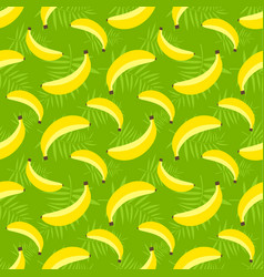 seamless pattern with bananas on green background vector image