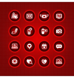set valentines day icons love on the internet sign vector image vector image