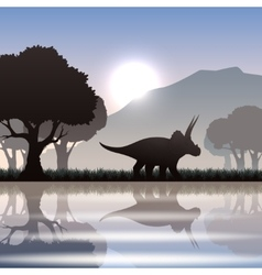 Silhouette dinosaur in landscape vector image