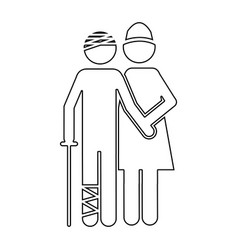 silhouette pictogram nurse with bandaged patient vector image vector image