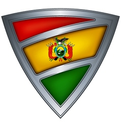 steel shield with flag bolivia vector image