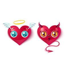 bad and good hearts vector image