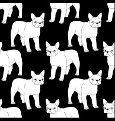 black and white seamless pattern with bulldog vector image vector image