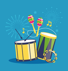 fireworks and musical instruments on blue vector image vector image