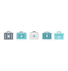 first aid kit icon set flat style vector image