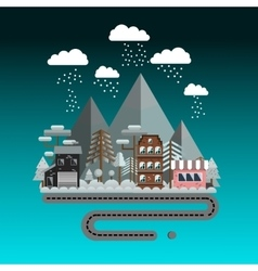 Flat design winter landscape vector image
