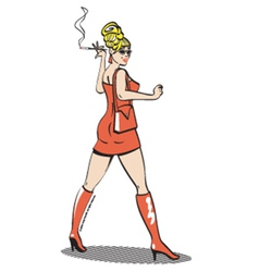 Girl with cigarette vector image