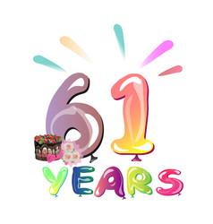 happy birthday sixty one 61 year vector image vector image