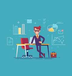man with business icons on background vector image vector image