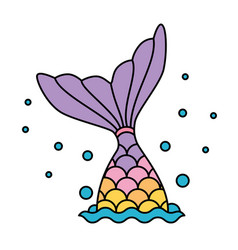mermaid tail rainbow pastel colorful jumping to vector image vector image