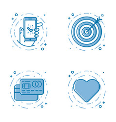 set of flat bold line icons vector image vector image