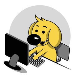 Smart Dog with Computer vector image vector image