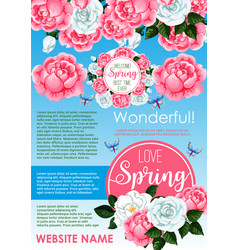Springtime holidays floral greeting poster design vector