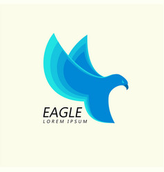blue eagle attacking flight trendy minimalistic vector image vector image
