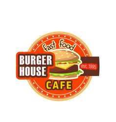 burger house restaurant cheeseburger icon vector image vector image