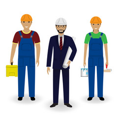 construction people engineer in suit with vector image