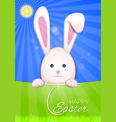 cute easter bunny on a sky blue background easter vector image