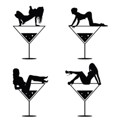 girl and martini black silhouette vector image vector image