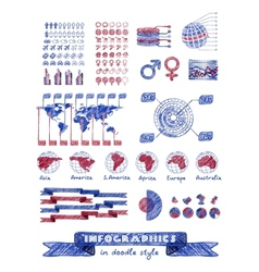 Infographics in doodle style vector image vector image