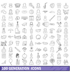 100 generation icons set outline style vector image