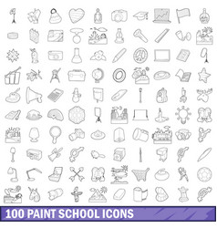 100 paint school icons set outline style vector image