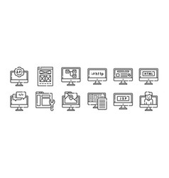 12 set linear web development icons thin vector