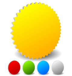 3d starburst shaped badge icons in 4 colors vector
