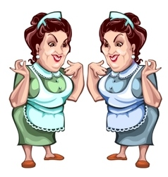 Adult woman in apron seller product character vector