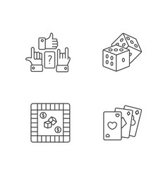 Amusing games pixel perfect linear icons set vector