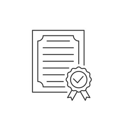approved certificate line icon on white background vector image