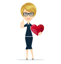 attractive blonde girl with red heart symbol vector image