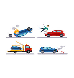 auto accidents set car crash man hitting by a vector image