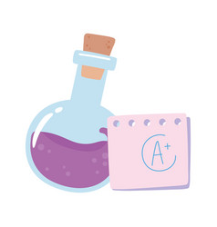 back to school chemistry test tube and paper vector image
