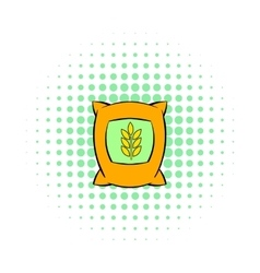 Bag of wheat icon pop-art style vector image